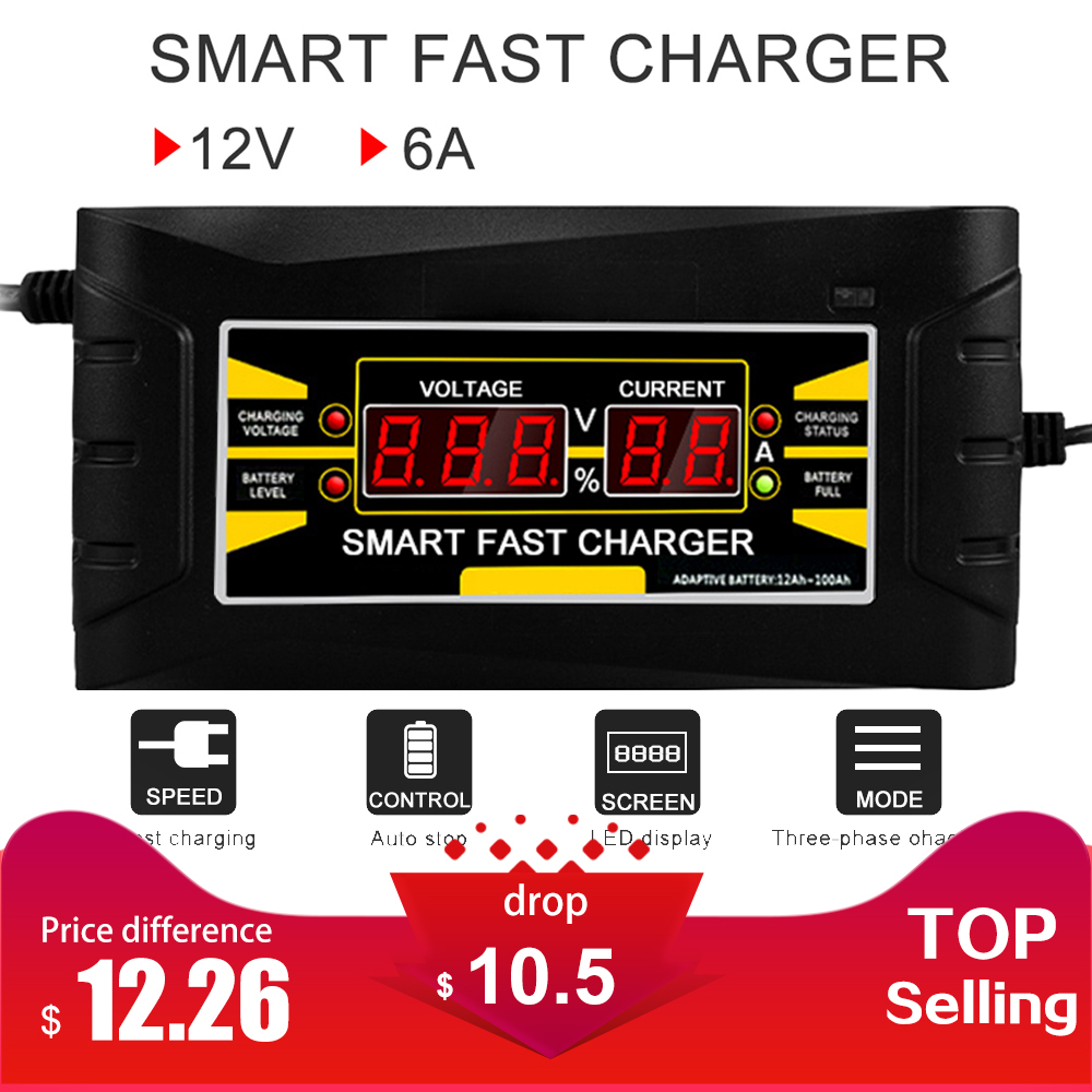 Full Automatic Car Battery Charger 110V/220V To 12V 6A Smart Fast Power Charging For Wet Dry Lead Acid LCD Display US Plug automatic car battery charger intelligent 6v 12v full automatic electric car battery charger for lead acid battery us plug