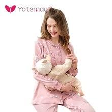 YATEMAO, новинка, Пижама для беременных, пижама для кормящих мам, набор, одежда для сна, для дома, женская одежда для кормящих матерей, пижамный комплект с длинным рукавом