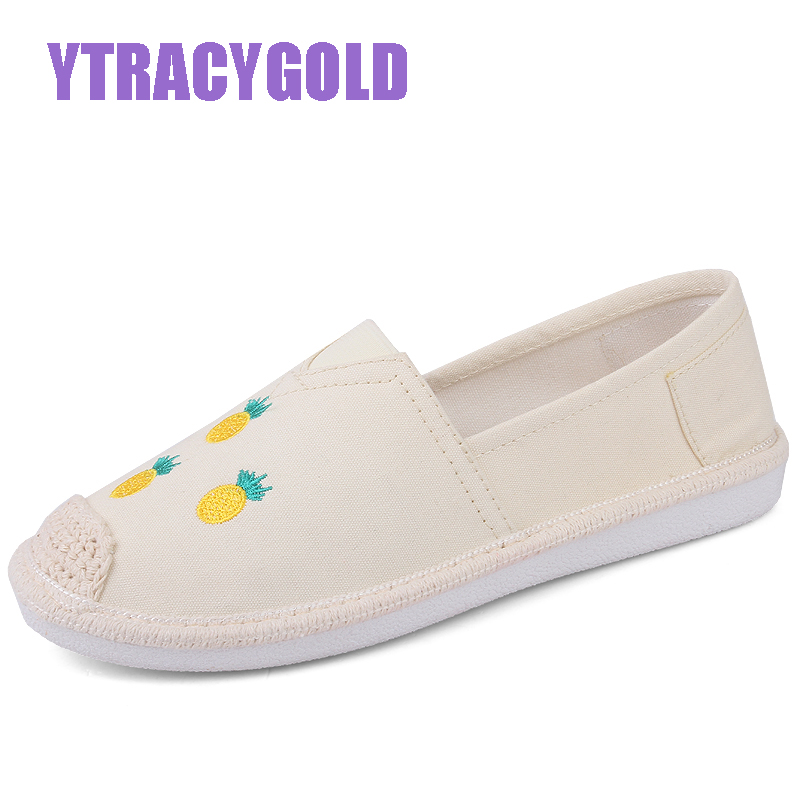все цены на YTracyGold Plus Size Embroidery Casual Shoes Women Canvas Shoes Moccasin Ladies Espadrilles Hemp Women Flats shoes Zapatos mujer