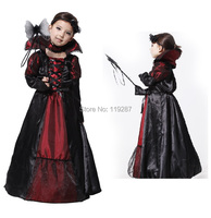 Halloween Vampire Princess Children Halloween Costume Lace Dress Necklace Set Kid Party Dress Performance Cosplay Costumes