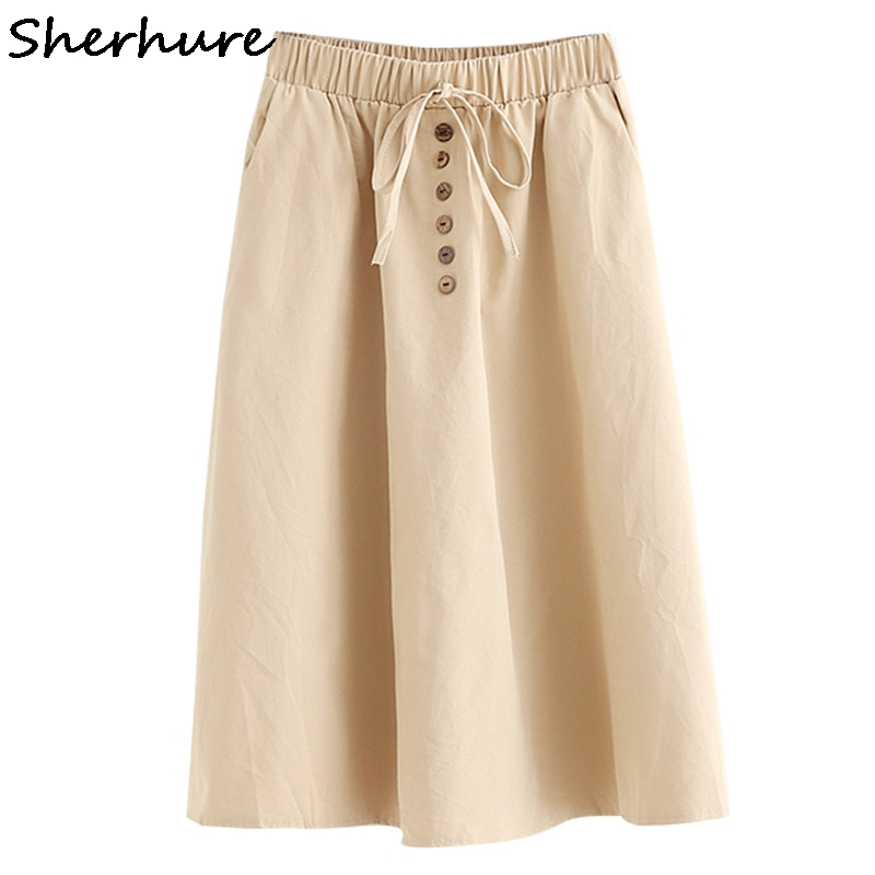 Sherhure 2019 Stretch High Waist Women Cotton Skirts With Pocket Midi Boho Women Summer A-line Skirt Faldas Jupe Femme Saia