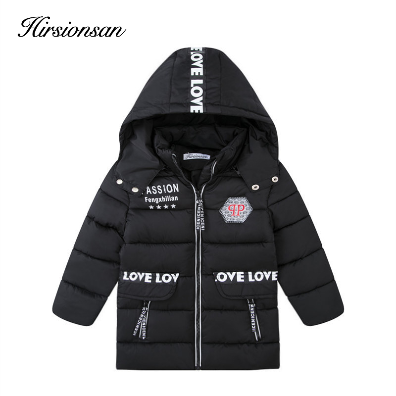 Hirsionsan 2017 Winter Down Jacke for Girls&Boys Hooded Zipper Mid-Length Thicker Cotton Coat Outwear Children's Winter Clothes 2016 new baby hanging rattle toy soft plush rabbit musical mobile child infant toys cute for cat