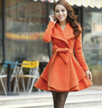 Women's Woolen Coat Fashion Slim Belted Overcoats Winter Warm Outerwear Female Mid-long Wool Coats Casual Wear M/L/XL/XXL CO-096