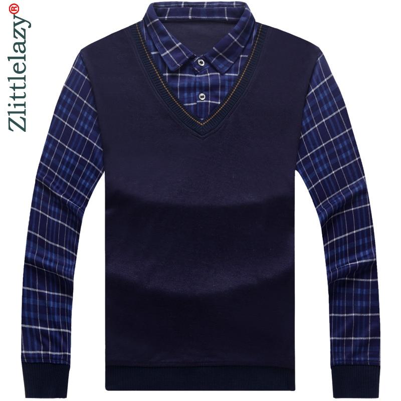 2019 Long Sleeve Fake Two Pieces Polo Shirt Men Cotton Streetwear Polos Shirts Mens Dress Tee Shirt Poloshirt Camisa Pol Clothes
