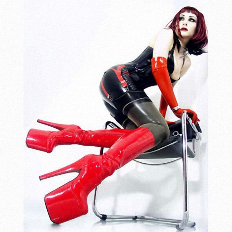 20 Zipper red Heel Frauen Lzj Stiefel Hohe Fetisch Metall Cm Plattform Oberschenkel 35 Knie 46 Extreme Tanz High Heels Diskothek Black Sexy Größe x6vSBwfqvY