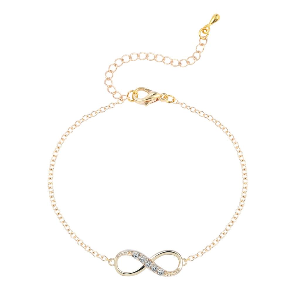 Kinitial 2017 Hot Bracelet Gold Silver Cz Infinity Bracelets For Women Friendship  Bracelets Eight Shape Charm Bracelets Bangles