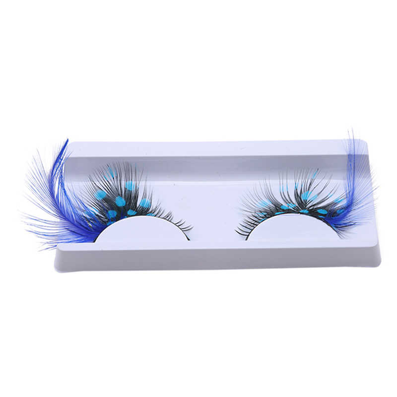902a9c3d7f1 1 Pair Exaggerated Color False Eyelashes Stage Performance Art Studio Makeup  Eye Lashes Blue Dot Thick