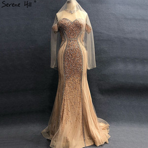 Image 5 - Luxury Sexy Gold Diamond Mermaid Evening Dresses Sleeveless Sparkly Mermaid Evening Gown  2020  Real Photo LA60797