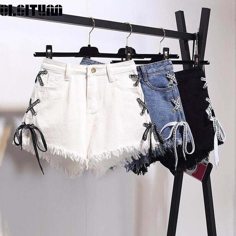 2019 Women Denim Shorts Korean Version New Large Size Raw Bandage High Waist Female Summer Loose Thin Wide Leg Hot Shorts PT210