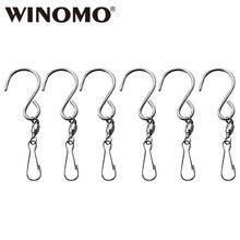 WINOMO 6 шт. поворотные Крючки из нержавеющей стали Aeolian колокольчики зажимы для подвешивания флюгер куранты Twisters Садовые принадлежности