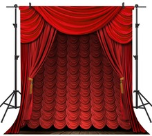 Capisco Dark Red Curtain Wooden Floor Stage Baby Children Photography Backgrounds Vinyl Custom Camera Backdrops For