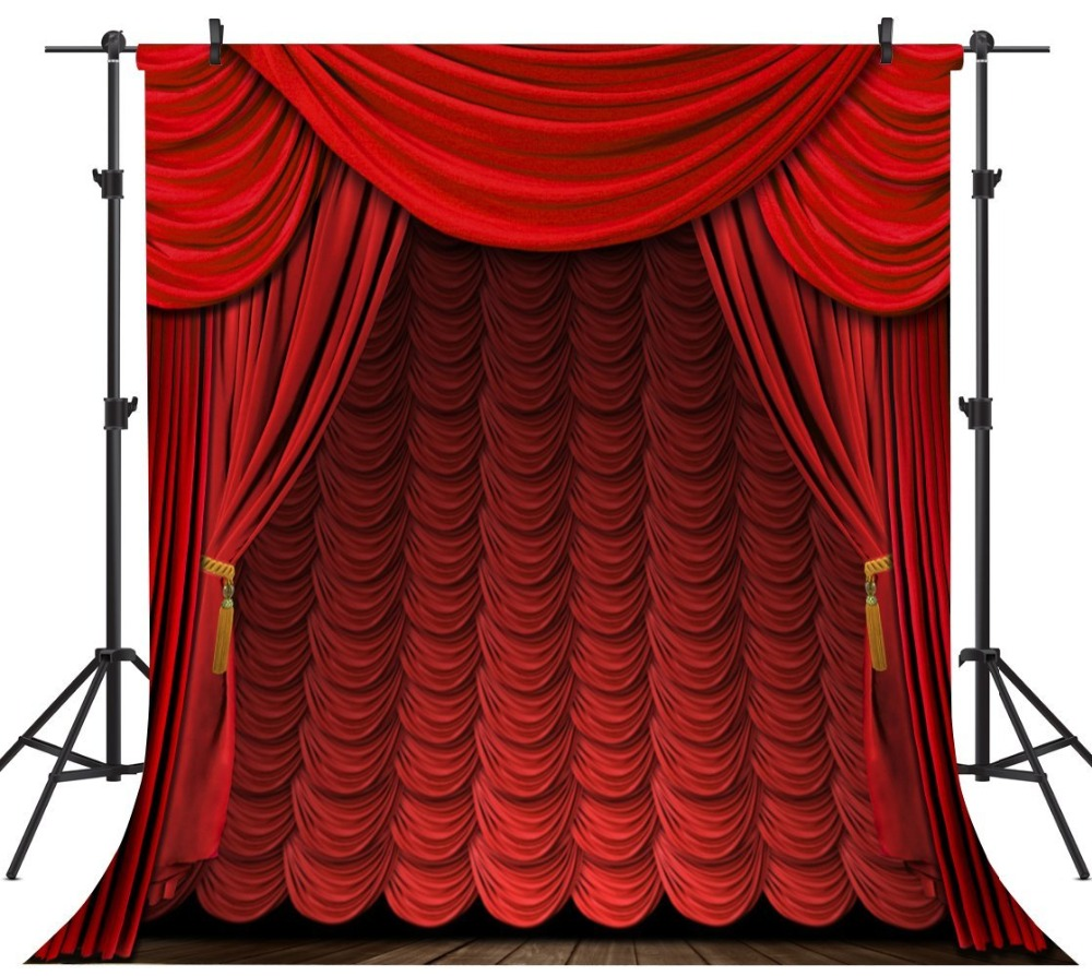 Capisco Dark Red Curtain Wooden Floor Stage Baby Children Photography Backgrounds Vinyl Custom font b Camera