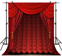 Capisco Dark Red Curtain Wooden Floor Stage Baby Children Photography Backgrounds Vinyl Custom Camera Backdrops For Photo Studio