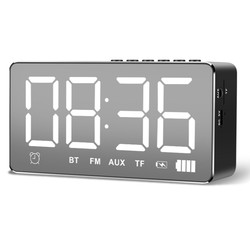Mirror Smart Bluetooth Alarm Clock Speaker Wireless Mobile Computer Mini Home Overweight Subwoofer LED Lights Small Stereo