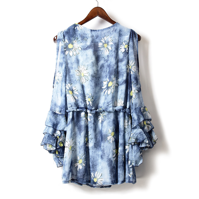 plus size ladies dresses 2018 women summer dress casual ruffles cold shoulder o neck long sleeve floral dress chiffon dress in Dresses from Women 39 s Clothing
