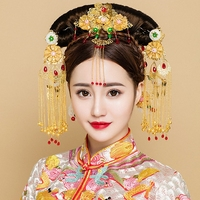 Luxury Gold Color Hair Jewelry Set Chinese Ancient Wedding Headpiece Tassel Step Shakes Phoenix Frontlet Headdress Ornament Gift
