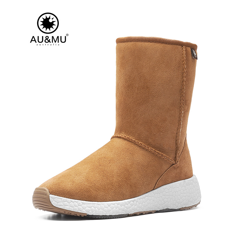 2017 AUMU Australia Womens Classic Wild Mid Calf Fur Sheepskin Leather Short Winter Snow Boots UG NY506 2017 aumu australia women classic short sheepskin elastic suede winter snow boots ug ny082