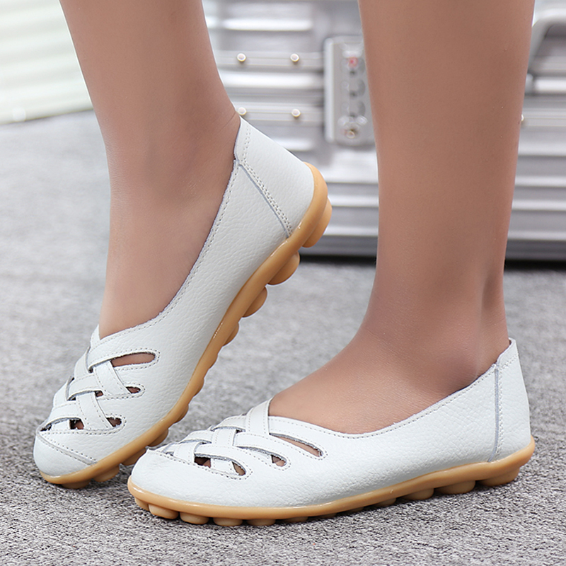 Spring Casual Women Flats Shoes Fashion Genuine Leather Breathable Woman Shoes Comfortable Loafers Moccasins Ladies Shoes STT181 2017 autumn fashion real leather women flats moccasins comfortable summer ladies shoes cut outs loafers woman casual shoes st181