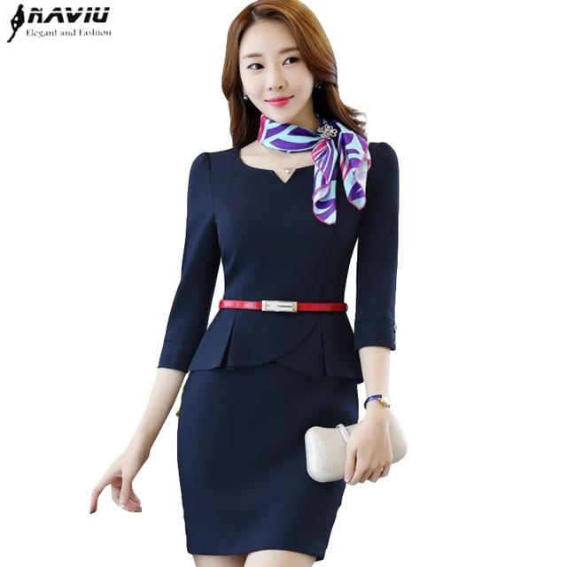 947ee11671d 2017 formal elegant slim half sleeve slim women one-piece dress spring OL  fashion office ladies plus size work wear dresses
