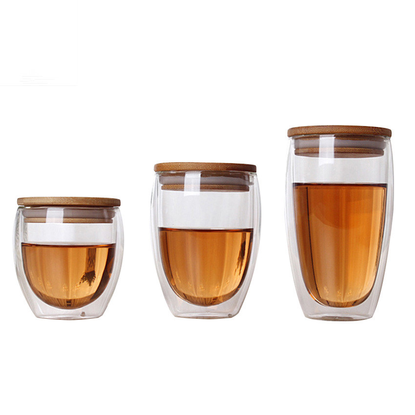 Double Wall Glass Tea Cup Coffee Mugs Transparante isolatie Glazen bekers met bamboe deksel Creative Vaso Caneca Beer Wine Verre