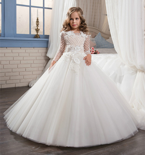 First Communion   Dress   with Lace Button Crystal Illusion Back Long Sleeves   Girls   Birthday Gown   Flower     Girl     Dress   for Wedding