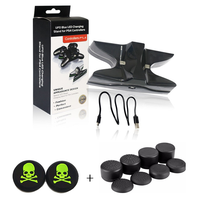 UFO led Dual Controller Charging Dock Stand + 2x Skull Caps +8x Increase Silicone Caps For Sony PlayStation 4 PS4 Controller
