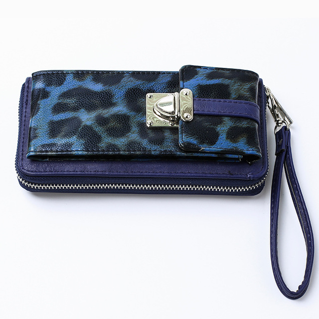 YESIKIM Women Clutches With Cell Phone Pocket Long Wallet PU+Fur Leopard Zipper Closed Handbag Gift