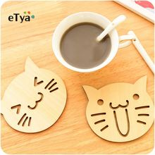 1pcs Korea Creative Cute Animal Wooden Mug Coasters Desktop Mat Cup Mats Wood Carved Cup Pads Shop Bar Tea Coffee Cup holder(China)