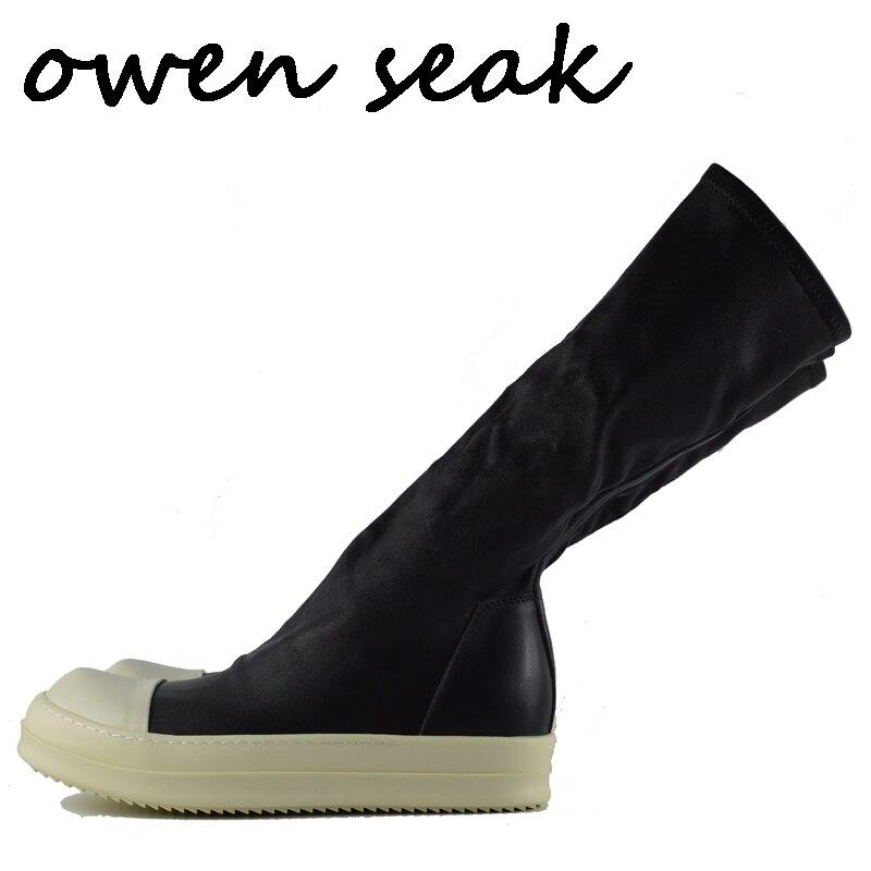 d56c644196 Owen Seak Scarpe Da Uomo scarpe Da Ginnastica Inverno Stivali Alti Al  Ginocchio Stivali di pelle di Pecora di Cuoio di Lusso Casual Appartamenti  Scarpe Da ...