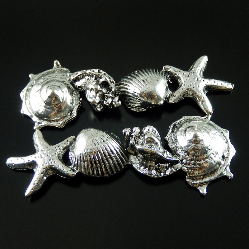 5pcs Antique Metal Small Shell Starfish Jewelry Pendants Charms Finding Jewelry Making Key Chain Accessary 52065