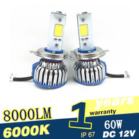 2PCS Auto Car COB H4 LED Headlight Kit Bulb Hi Lo Beam 30W 3200lm 6000K 12V
