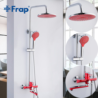 Frap new 1set red Bathroom bathtub Shower Set Brass Chrome Wall Mounted Shower Faucet Water bath shower system Tap F2443