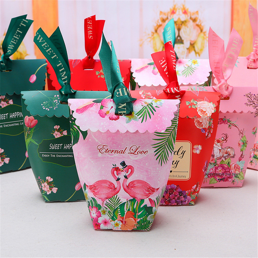 50Pcs/set Pink Flamingo Flowers Paper Candy Gift Bags Christmas ...
