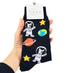 galaxy bull terrier socks with planet stars cute spaceman socks women fun socks cartoon universe dog style 50pairs