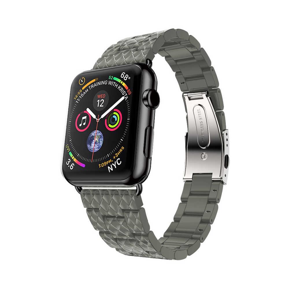 Lerxiuer Luxury strap for Apple watch band iwatch band 44mm 40mm for Apple watch 4 42/38mm Stainless steel bracelet watchband