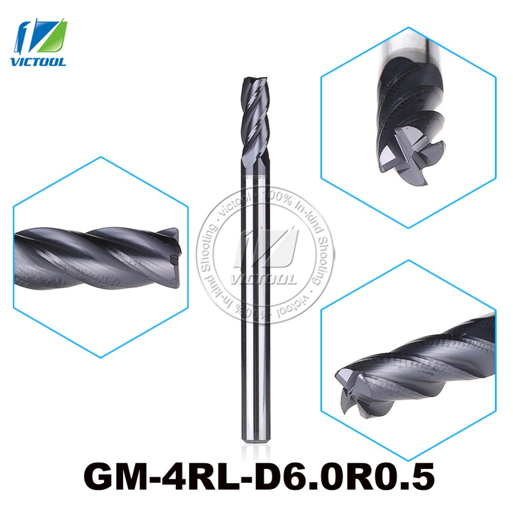 GM-4RL-D6.0R0.5 Cemented Carbide 4-Flute R End Mills Straight And long Shank Milling Cutter Metal Drill Bits Cutting Tools best price 5pcs end milling cutter tool drill bit 3 175mm shank 3mm cutting dia tungsten carbide pcb for cutting and hook slot