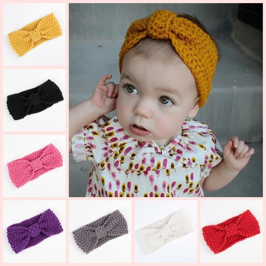 8 Warna Bayi perempuan Knit Crochet Turban Headband Musim Dingin Bando Rambut Aksesoris Untuk Bayi Yang Baru Lahir pita Rambut ...