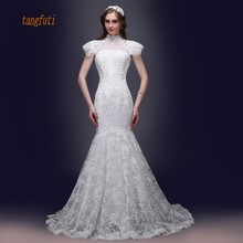 tangfuti High Neck Vintage Wedding Dresses Beads Sequins