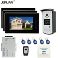 JERUAN New 7 inch touch key Color Screen Video DoorPhone Intercom System 3 Monitor +700TVL RFID Access Camera For 3 house