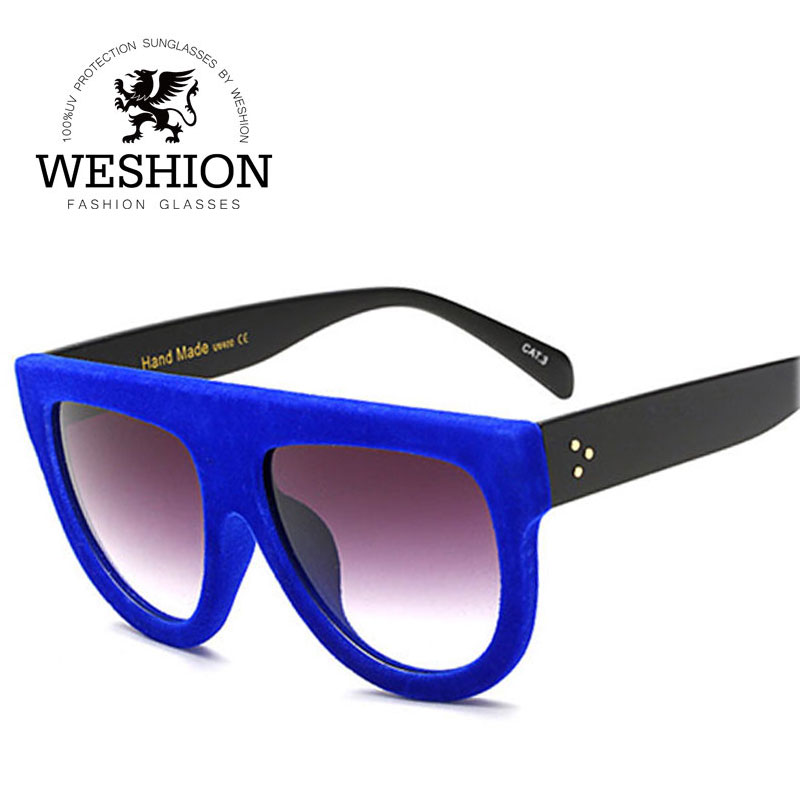 WESHION Elegant Velvet Women Sunglasses Plus Plain Glasses UV Protection Classic Brand Design Shades Oculos De Sol Feminino
