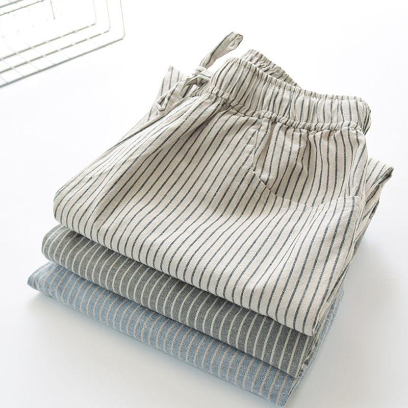 100% Cotton Linen Casual Pants Women Striped Loose Ankle-length Harem Female Home Wear Trousers Pants Top Quality
