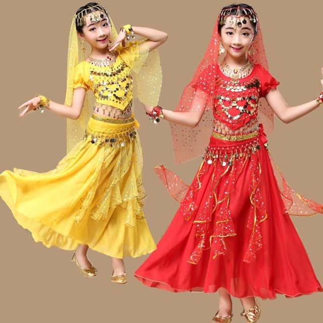 4pcs/1set Girl Professional India Dance Children Egypt Belly Dance Costumes For Girls Egypt Dancing BELLYDANCE Costume for Girls индийский костюм для танцев девочек