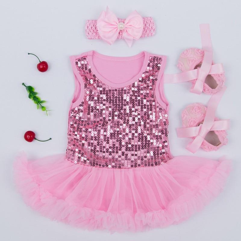 11f6e87c42f8 Aliexpress.com : Buy Newborn Baby Gift Set Summer Sequin Infant Princess  Dress Girl Fantasia Bebe Lace Tutu Romper headband Shoes 3pcs Baptism Dress  from ...