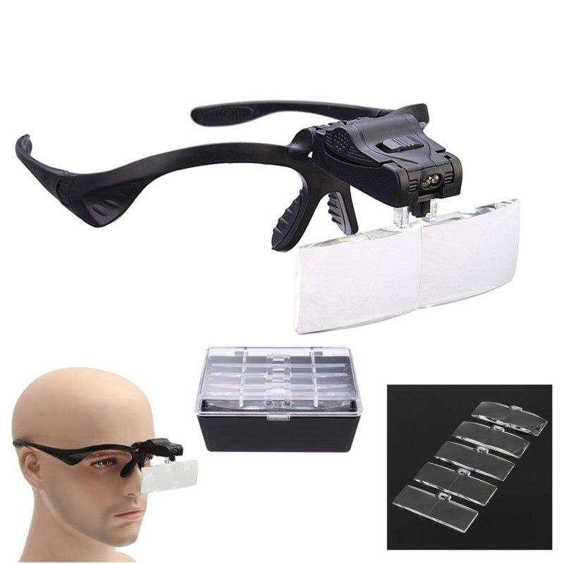 5 Lens 1.0X-3.5X Bracket Headband Eye Magnification Goggles Magnifying Glasses With 2 LED Light For Beauty Tattoo Graft Eyelash