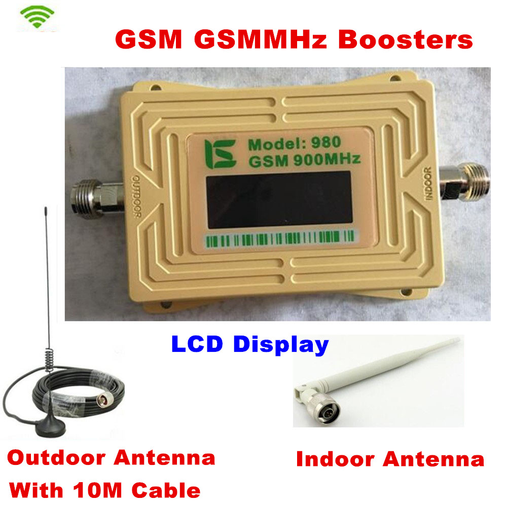 LCD GSM980 Cell Phone Signal Booster 2G GSM 900mhz Signal Repeater GSM Booster Outdoor Antenna With 10M Cable + Indoor AntennaLCD GSM980 Cell Phone Signal Booster 2G GSM 900mhz Signal Repeater GSM Booster Outdoor Antenna With 10M Cable + Indoor Antenna