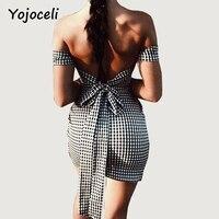 Yojoceli 2018 Spring Summer Vintage Plaid Dress Bodycon Back Bow Off Shoulder Dress Streetwear Platy Wear