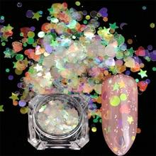 1pcs 네일 반짝이 조각 믹스 스타 나비 문 심장 라운드 심포니 스팽글 안료 네일 아트 파우더 홀로그램 매니큐어 BE680