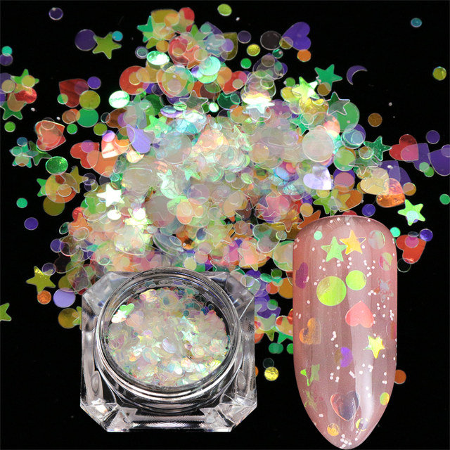 1pcs Nail Glitter Flakes Mix Star Butterfly Moon Heart Round Symphony Sequin Pigment Nails Art Powder Holographic Manicure BE680