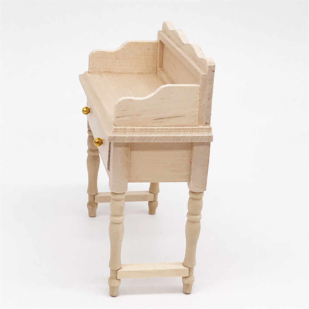 Mesa de escritorio en miniatura para 1:12 casa de muñecas modelo de muebles de madera Set casa de muñecas accesorios juguetes para niños regalo de Navidad
