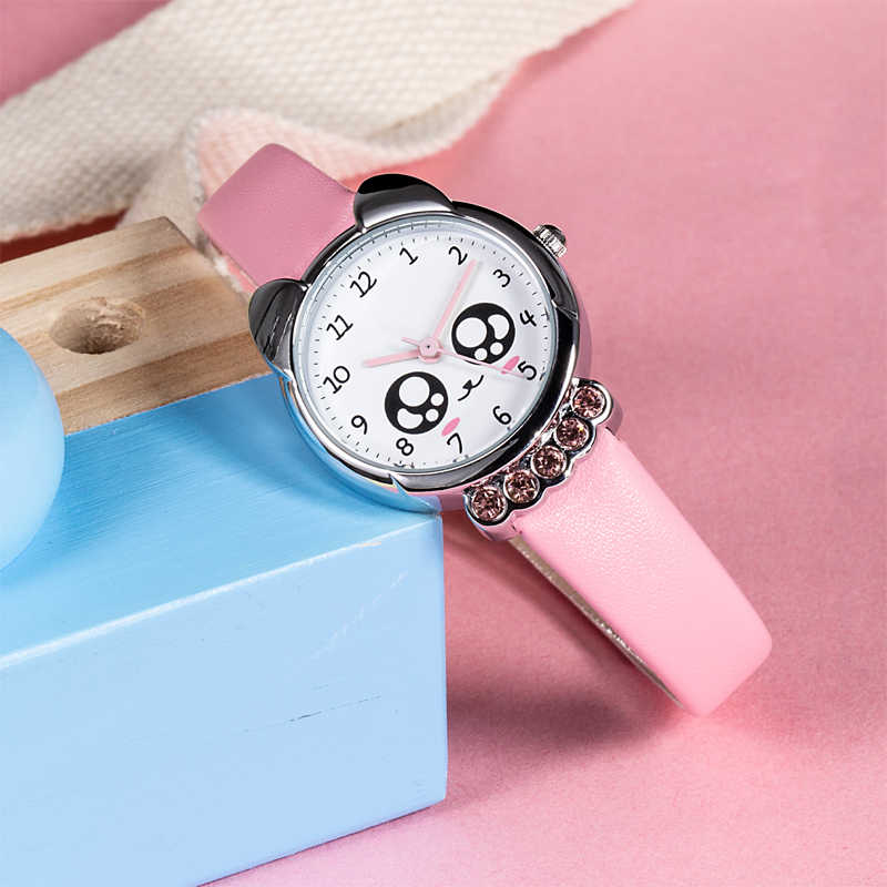 KDM Girl Watch Kids Bling Cute Eyes Diamond Waterproof Genuine Leather Wristwatch Lovely Kid Children Watches Students Clock